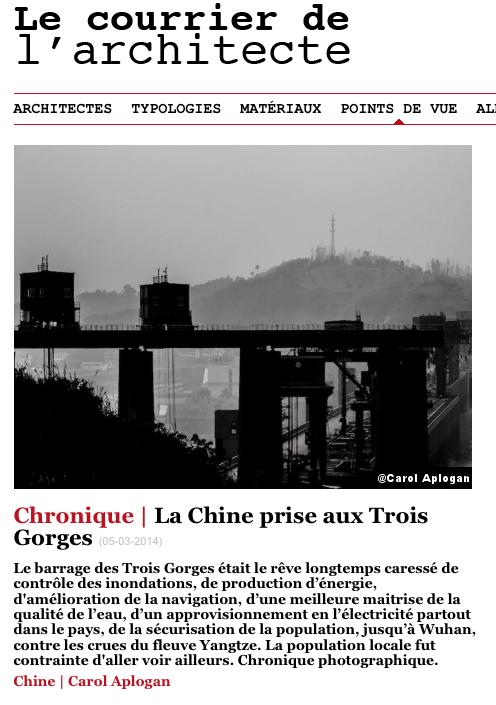 La Chine prise aux Trois Gorges